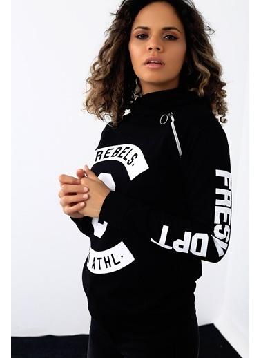 Emjey Fermuarlı Rebels Sweatshirt Siyah